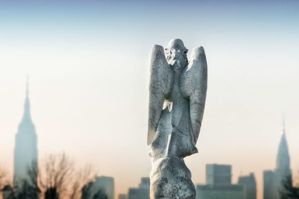 guardian angels, angels of New York, photograph of angels in cemeteries, Landscape photography of cities,