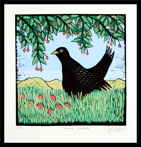 Blackbird  and a cherry tree set in a green landscape by Printmaker Mariann Johansen-Ellis, a linocut reduction, art, paintings