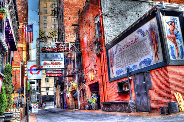 Nashville Art by Nashville Noted Photography, Nashville Printers Alley Photograph prints