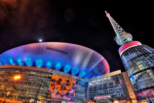 Bridgestone Arena at Night Photograph