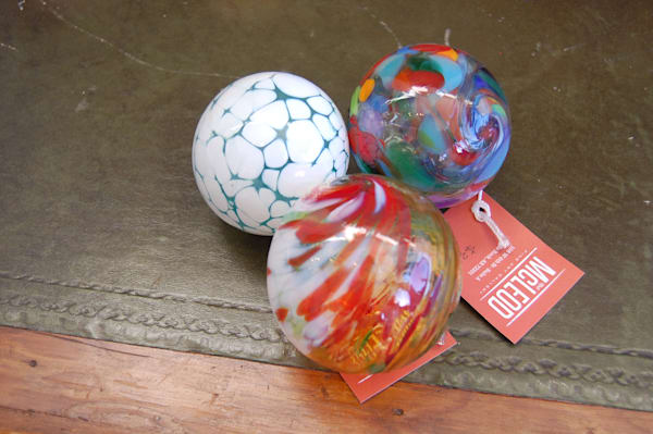 Blown glass ornaments by glass artist James Hayes.
