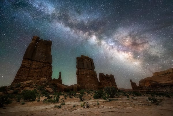 Milky Way Over Determination Towers outside of Moab, Utah