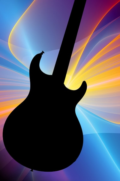 Electric Guitar Image Silhouette in Color 3317.02