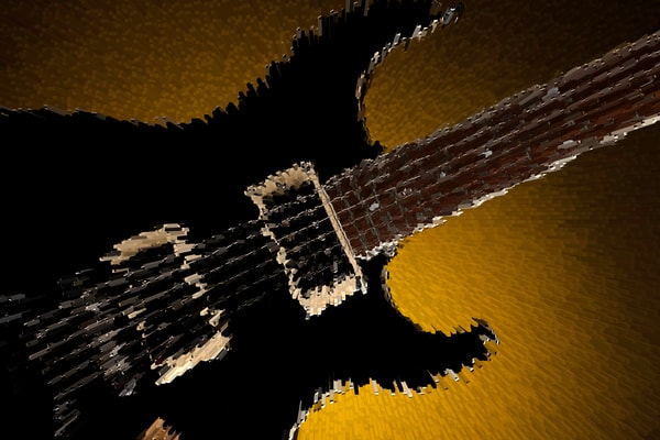 Excited Electric Guitar Image on a gold background