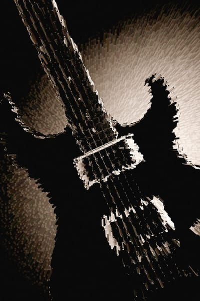 Electric Guitar Image Fine Art Print in Sepia 4159.01