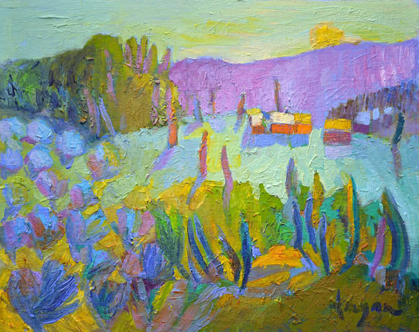 Colorful Tuscan Vineyards Landscape, Original Oil Painting by Dorothy Fagan
