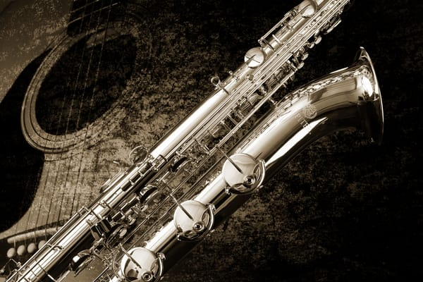 Saxophone Wall Art B&W Photograph as Prints Canvas Metal