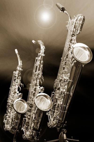 Alto tenor Baritone Sax Image in Sepia 3461.01