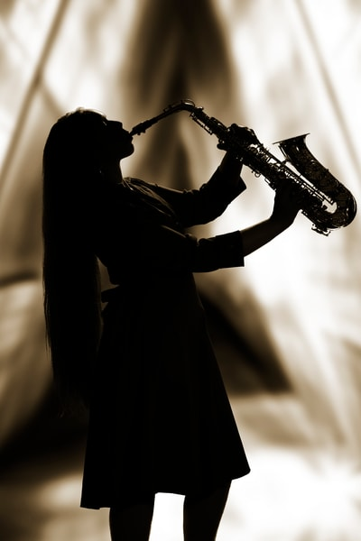 Silhouette Musician Playing Sax in Sepia 3353.01