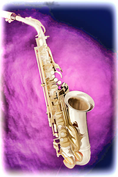 Saxophone Painting Wall Art in Purple 3272.02