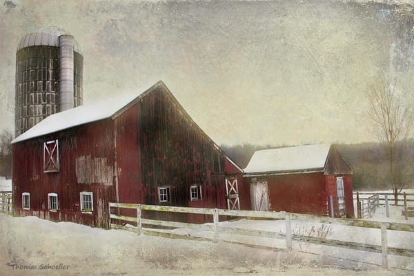 Painterly countryside vision of a South Kent Connecticut barn and silo/Purchase fine art prints by Thom Schoeller