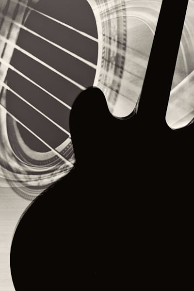 Silhouette Gibson Guitar Image in Sepia 1744.011