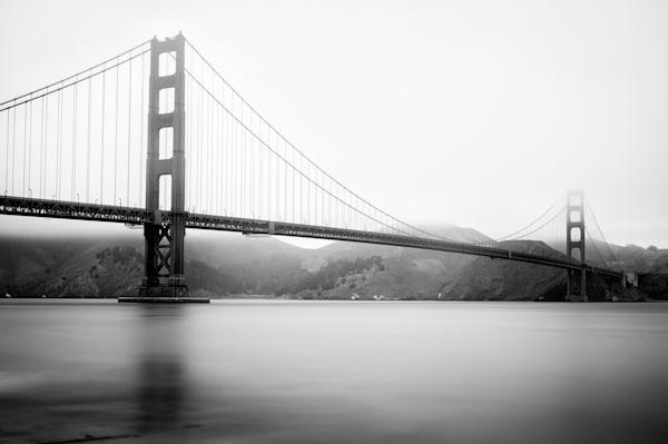 Black and white print of the Golden Gate Bride of San Francisco