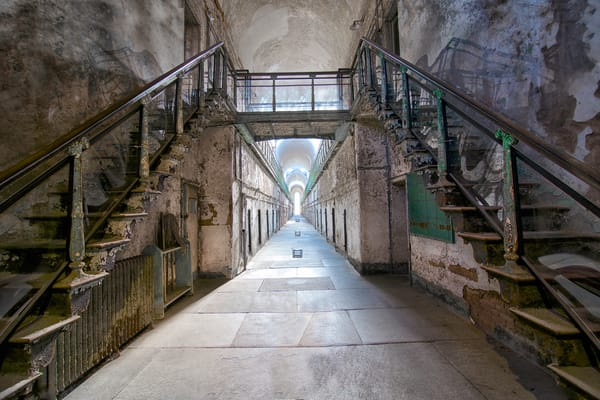 hallways of state penitentiary, prison cell photography, art photograph of Eastern State Penitentiary,