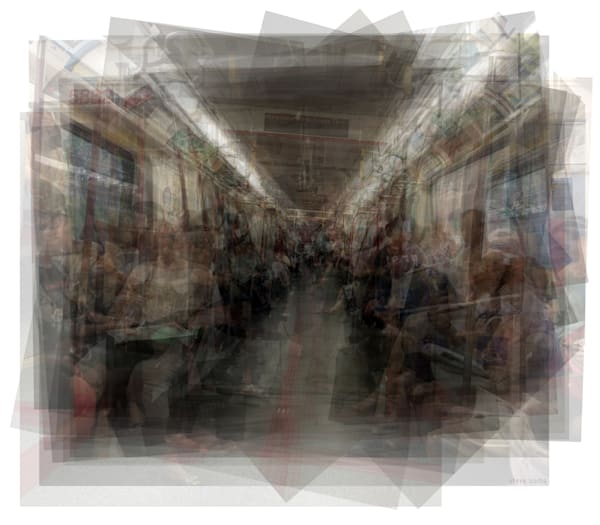 Overlay art – contemporary fine art prints of the Toronto TTC Subway interior.