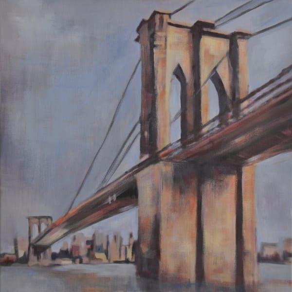 Brooklyn Bridge Original Acrylic Cityscape painting of New York City