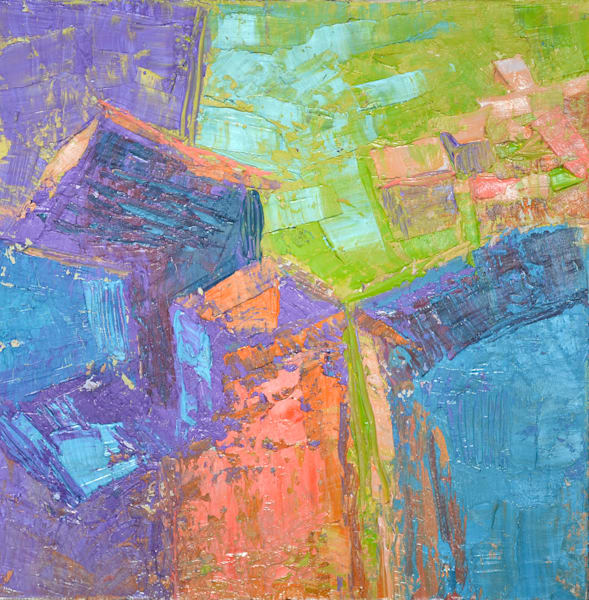 Small Colorful Tuscan Abstract Oil Painting by Dorothy Fagan