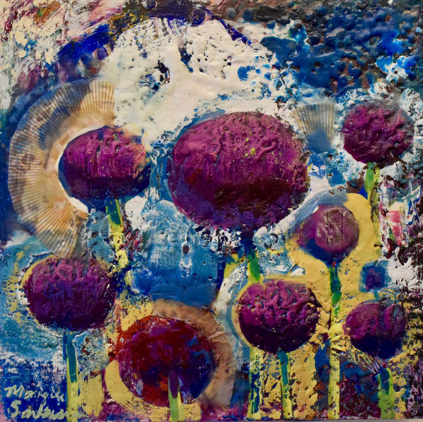 "Allium Lessons nk, encaustic wax and mixed media on wood, 12""x12"""