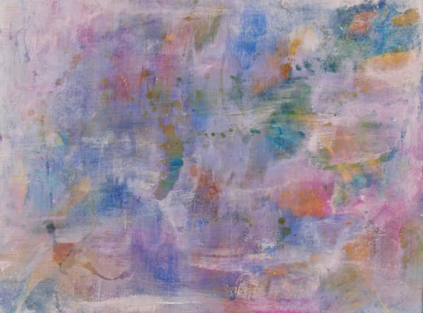 abstract painting with light fluffy strokes that give a cloud texture of rainbow colours.