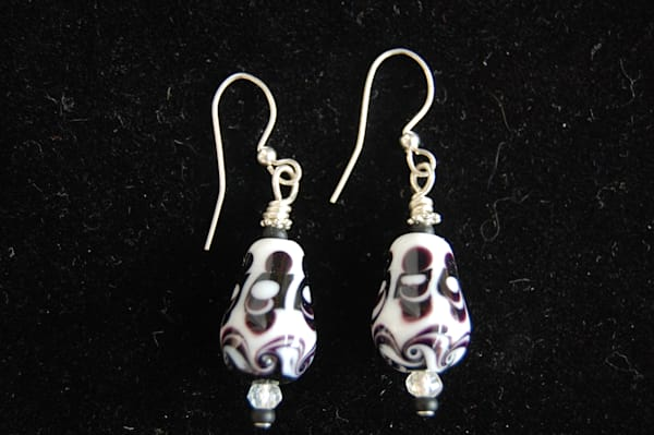 Black and White Fused Glass Earrings hand crafted by artists Sage and Tom Holland.