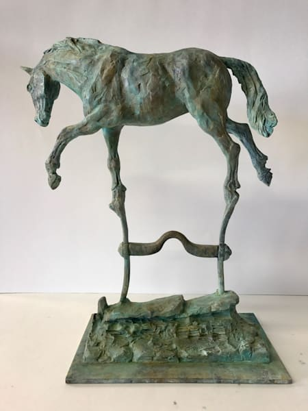 endurance bronze, endurance sculpture, on the bit, balanced horse