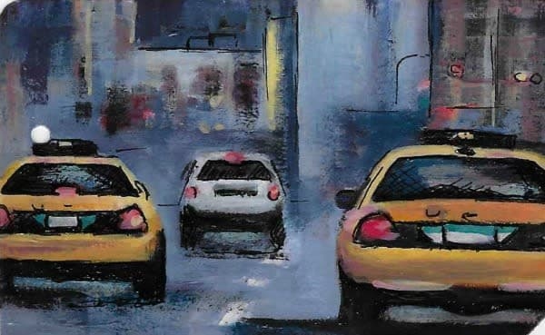 I'm an Englishman in New York, miniature acrylic painting by Steph Fonteyn