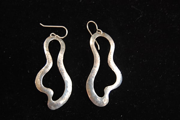 Silver Amorphous Earrings Hand Crafted by McLees Baldwin.