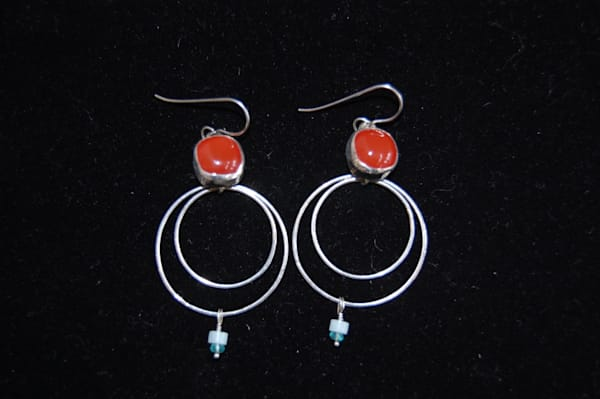 Silver Earrings with Red Jewel Hand Crafted by artist McLees Baldwin