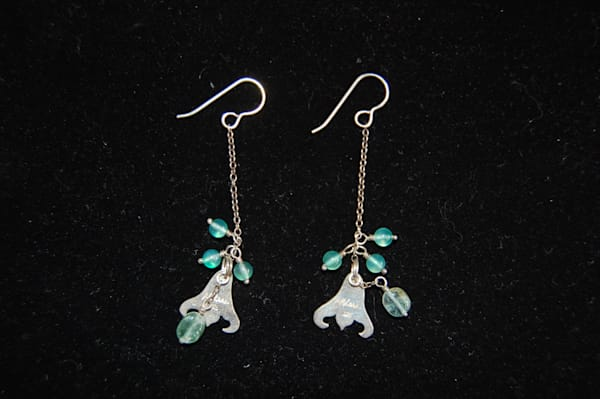 Monogrammed McLees Baldwin Silver Earrings with turquoise dangling jewels Hand Crafted by McLees Baldwin.