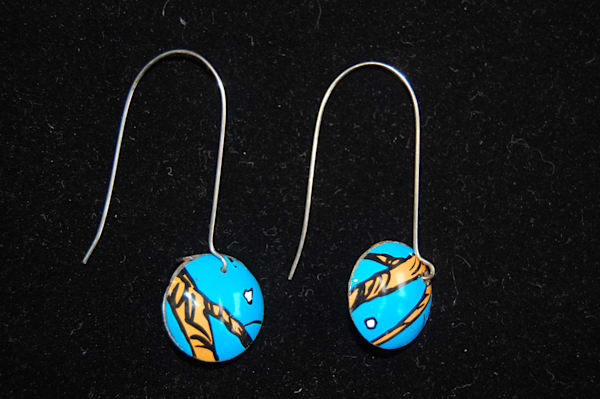 Blue and Orange Refurbished Aluminum Earrings Hand Crafted by artist Carrie Crocker.