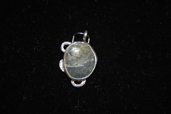 Green Stone Brooch Hand Crafted by McLees Baldwin.
