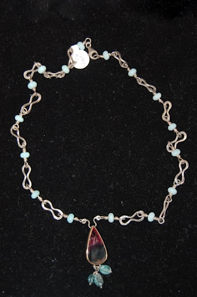 Silver Necklace with Blue Beads Hand Crafted by McLees Baldwin.