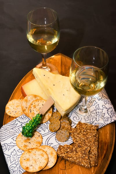 White Wine, Cheese & Crackers II (171769FBND8RM) Photograph for Sale as Commercial Product or Digital Licensing