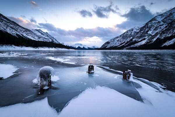 Frozen waterscape at Spray Lake for sale as fine art