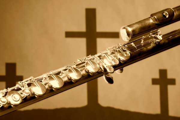 Sepia Flute With Crosses Music Art 0010.92