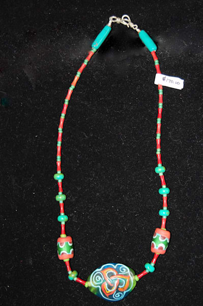 Fused Glass Trinity Knot Necklace Hand Crafted by Sage and Tom Holland.