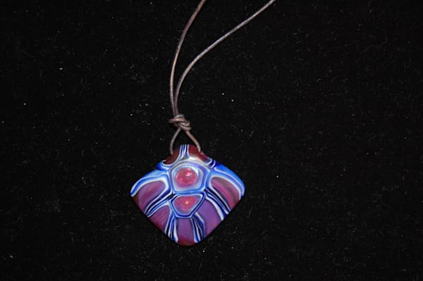 Lapidary Ruby and Cobalt Necklace Hand Crafted By Sage and Tom Holland.