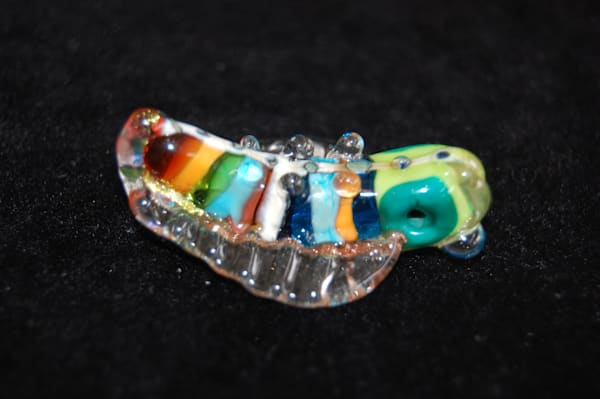 Rainbow Fused Glass Glow Bug Hand Crafted by Sage and Tom Holland.