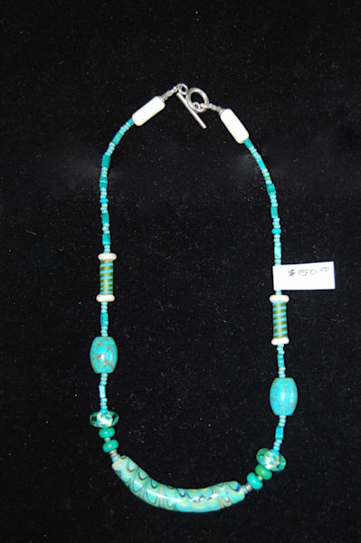 Turquoise Fused Glass and Marble Necklace Hand Crafted by Sage and Tom Holland.