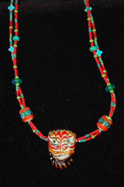 Fused Glass Mask Bead Double Strand Necklace Hand Crafted By Sage and Tom Holland.