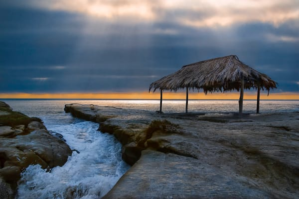 landscape photography of Windansea beach, surfers cover in La Jolla, art photographs of huts by the beach,