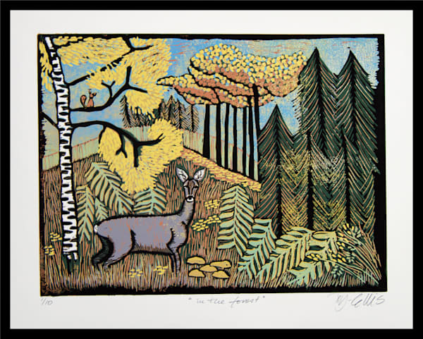 deer print with forest landscape in autumn colors, original linocut by Mariann Johansen-Ellis, art, paintings