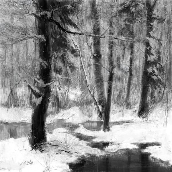"Digital painting by Eric Wallis titled ""Winter Woods."""
