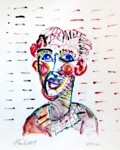 Face Number 66 ink drawing