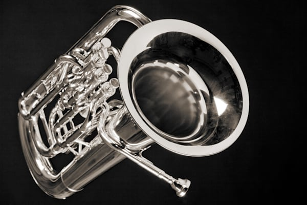 Tuba Black and White Art Photographs for Canvas or Metal Prints