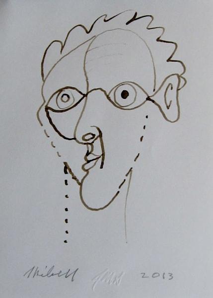 Goldfish-ear ink drawing portrait