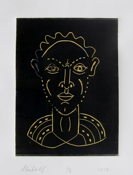Here's Looking at You linocut portrait