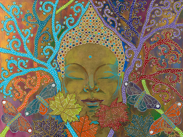 original art, Buddha, Buddhism, meditation, zen