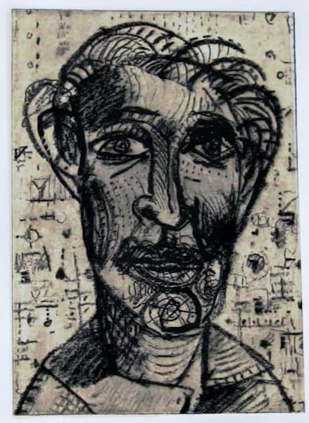 Face Number 553 etching portrait