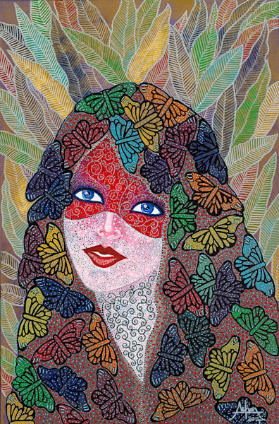 original art, butterflies, feathers, woman